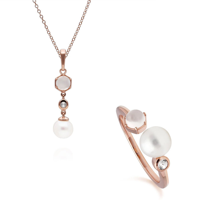 Modern Pearl, Moonstone & Topaz Pendant & Ring Set in Rose Gold Plated Sterling Silver