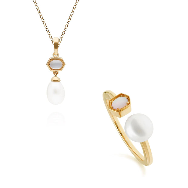 Modern Pearl & Moonstone Pendant & Ring Set in Gold Plated Sterling Silver