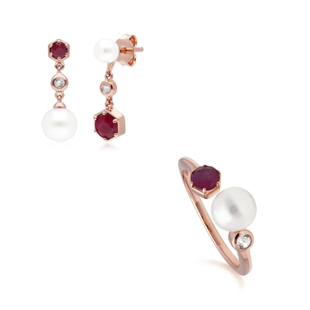 Modern Pearl, Ruby & Topaz Earring & Ring Set in Rose Gold Plated Sterling Silver