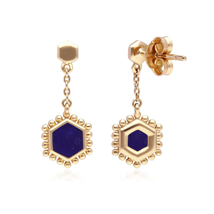Lapis Lazuli Flat Slice Hex Drop Earrings in Gold Plated Sterling Silver