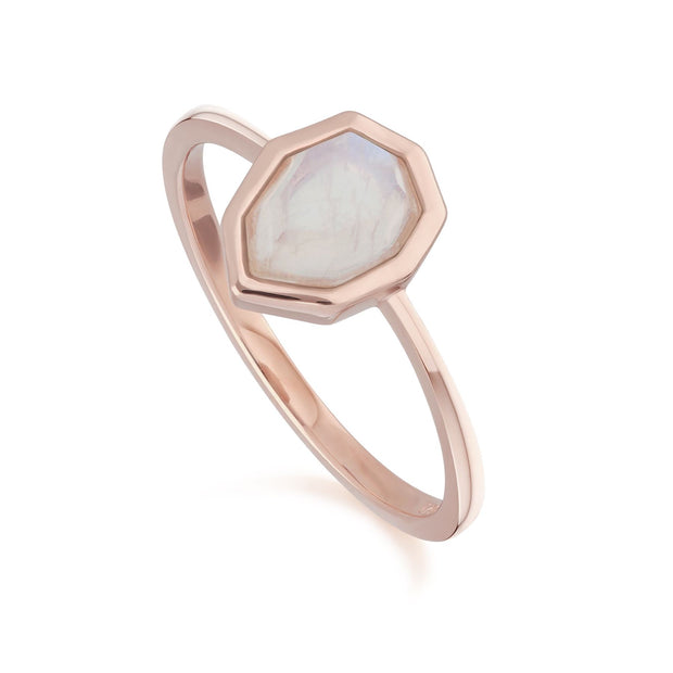 Irregular B Gem Rainbow Moonstone Ring in Rose Gold Plated Sterling Silver