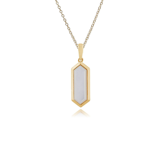 Geometric Hexagon Mother of Pearl Prism Drop Pendant in Gold Plated 925 Sterling Silver