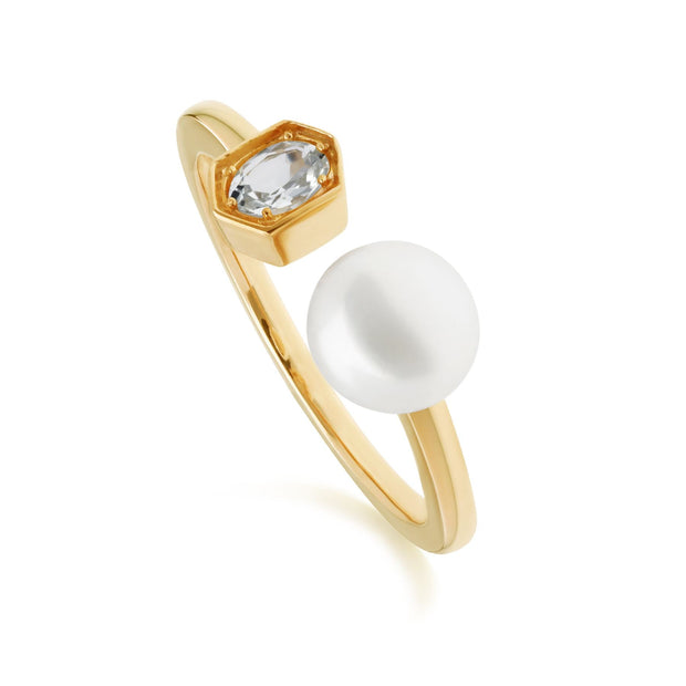 Modern Pearl & Aquamarine Open Ring in Gold Plated Sterling Silver