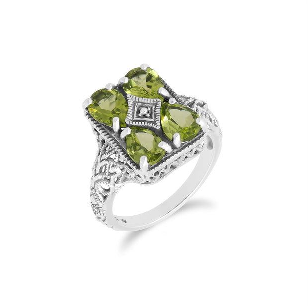 Art Nouveau Inspired Peridot Statement Ring in 925 Sterling Silver