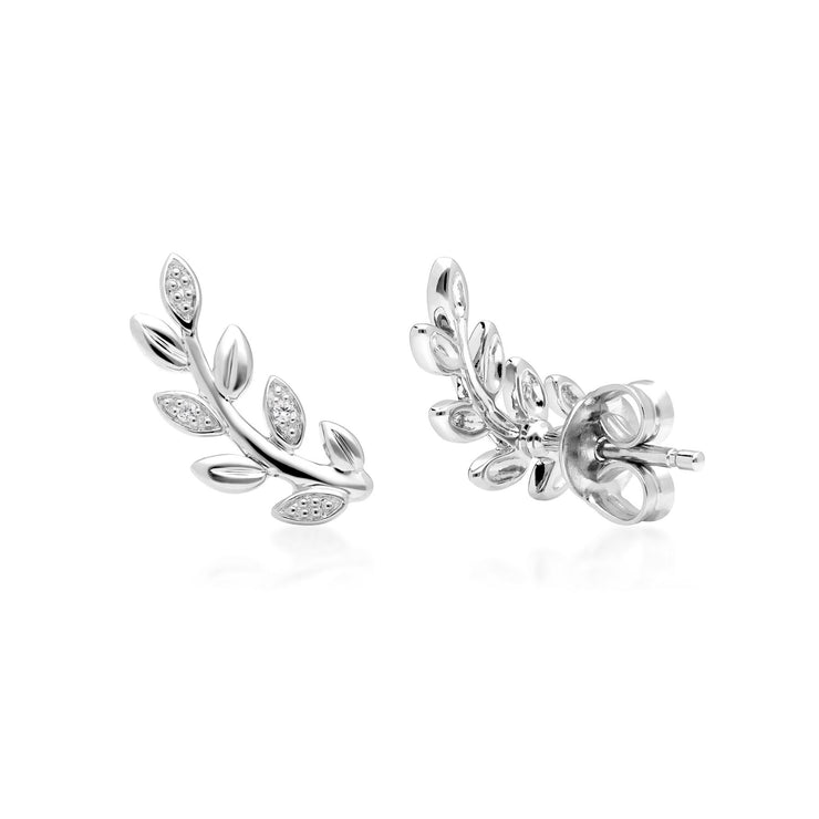 O Leaf Diamond Pave Stud Earrings in 9ct White Gold