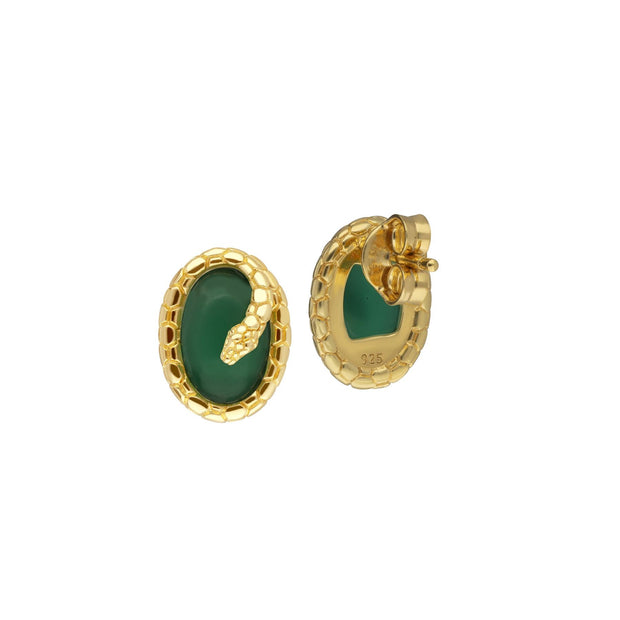 ECFEW™ Dyed Green Chalcedony Winding Snake Stud Earrings