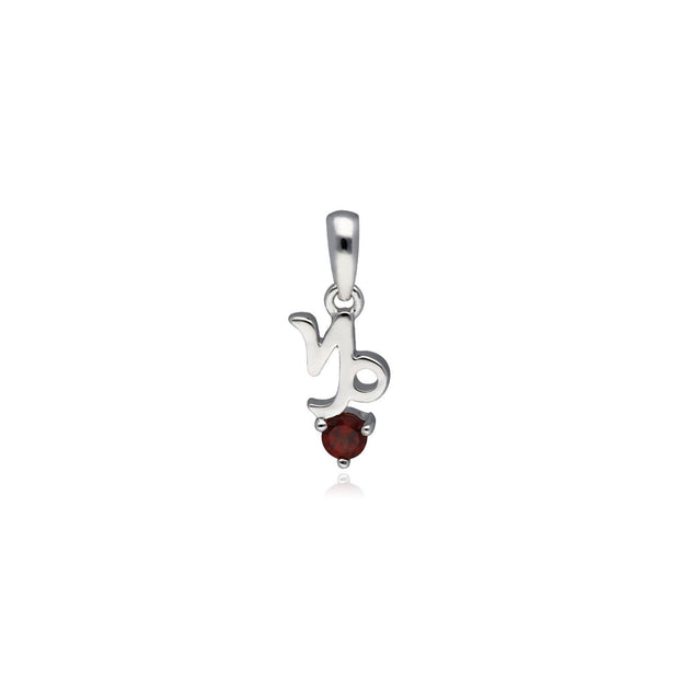 Garnet Capricorn Zodiac Charm in 9ct White Gold