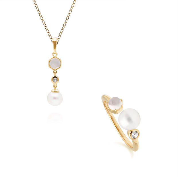 Modern Pearl, Topaz & Moonstone Pendant & Ring Set in Gold Plated Sterling Silver