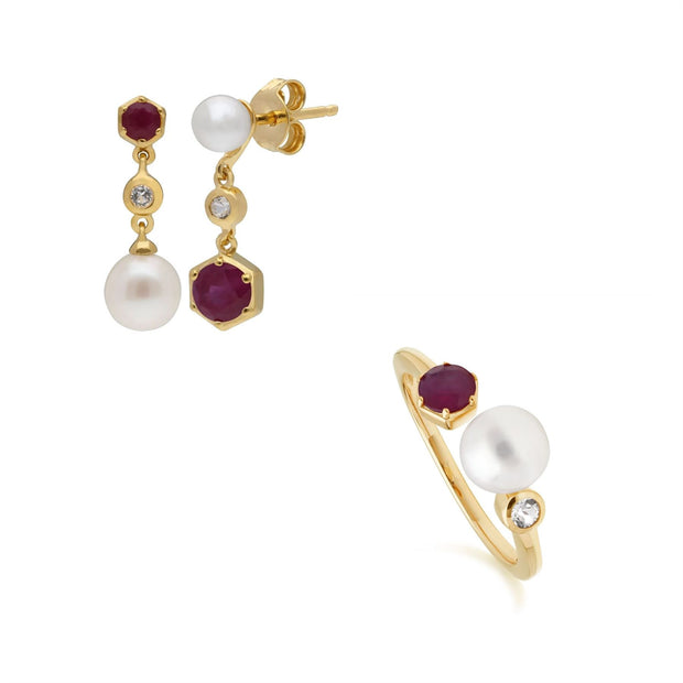 Modern Pearl, Topaz & Ruby Earring & Ring Set in Gold Plated Sterling Silver