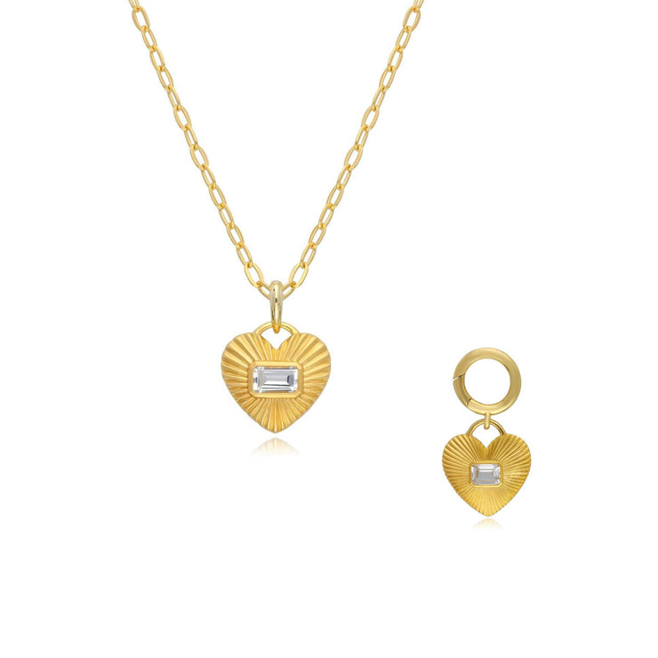 Queen of Hearts White Topaz Necklace & Pet Tag Set