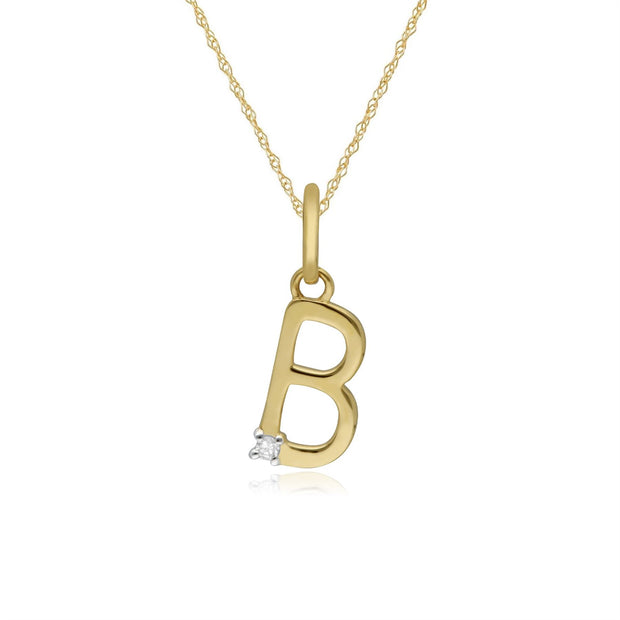 Initial B Diamond Letter Necklace in 9ct Yellow Gold