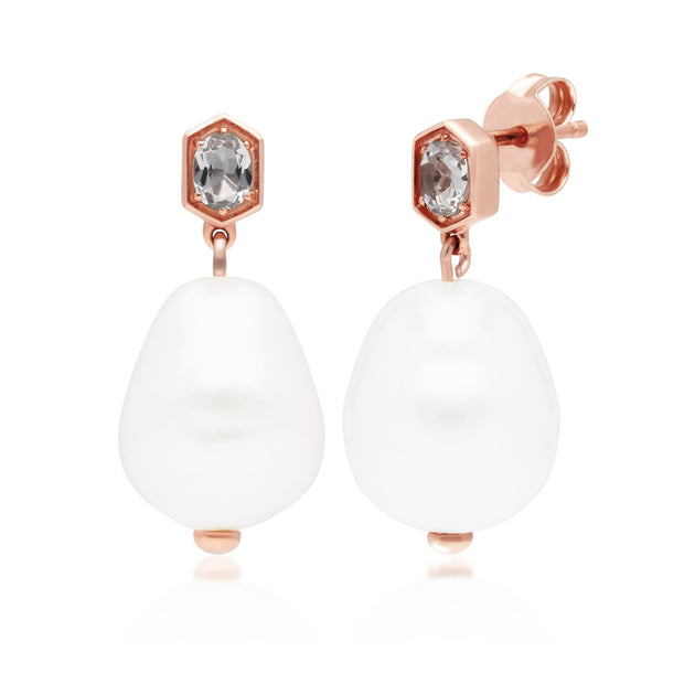 Modern Baroque Pearl & White Topaz Drop Earrings in Rose Gold Plated Sterling Silver