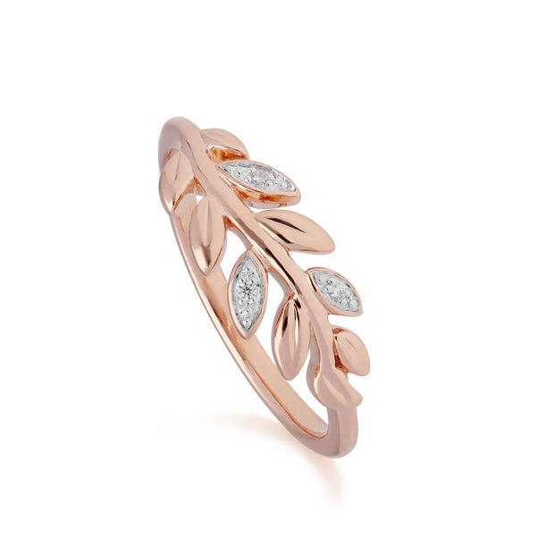 O Leaf Diamond Olive Branch Ring in 9ct Rose Gold