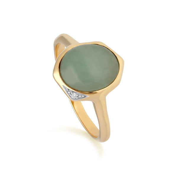 Gemondo Irregular Collection Dyed Green Jade & Diamond Ring in Gold Plated Sterling Silver