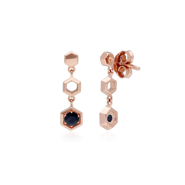 Honeycomb Inspired Sapphire Drop Earrings in 9ct Rose Gold