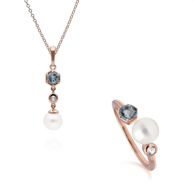 Modern Pearl & Topaz Pendant & Ring Set in Rose Gold Plated Sterling Silver