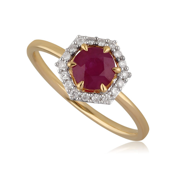 18ct Yellow Gold 0.92ct Ruby & Diamond Halo Engagement Ring