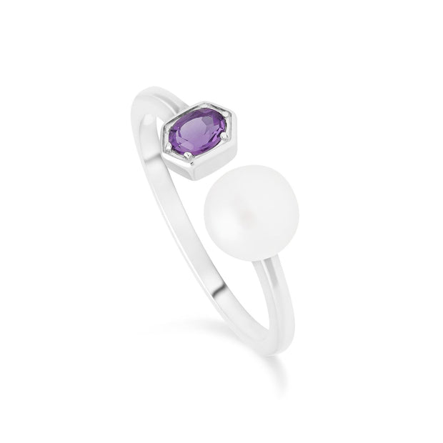 Gemondo Modern Pearl & Amethyst Open Ring in 925 Sterling Silver
