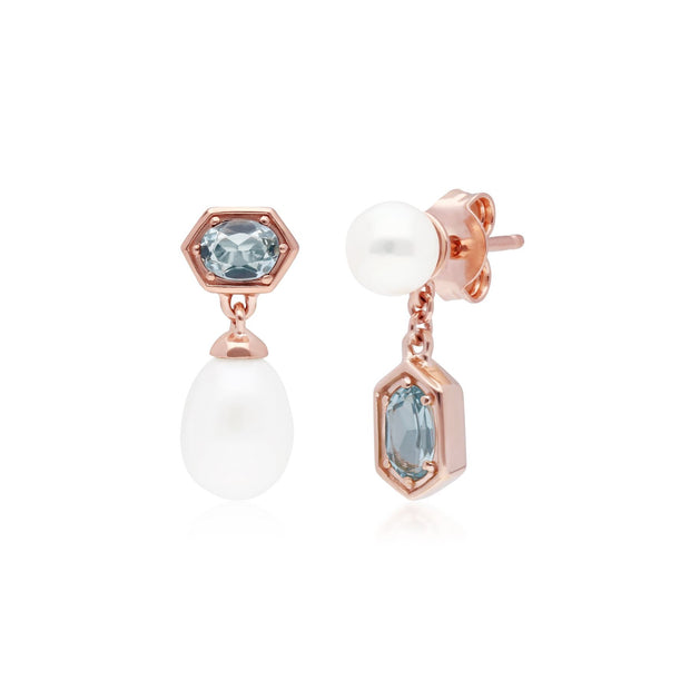 Modern Pearl & Blue Topaz Mismatched Drop Earrings in Rose Gold Plated Sterling Silver