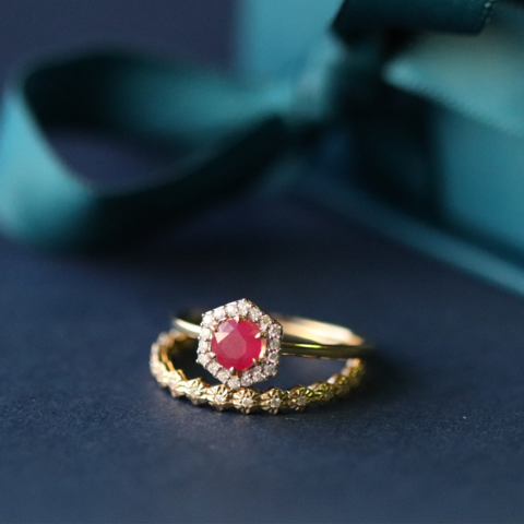 18ct Yellow Gold 0.48ct Ruby & Diamond Halo Engagement Ring