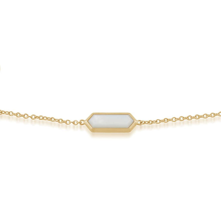 Geometric Hexagon Mother of Pearl Prism Bracelet in Gold Plated 925 Sterling Silver