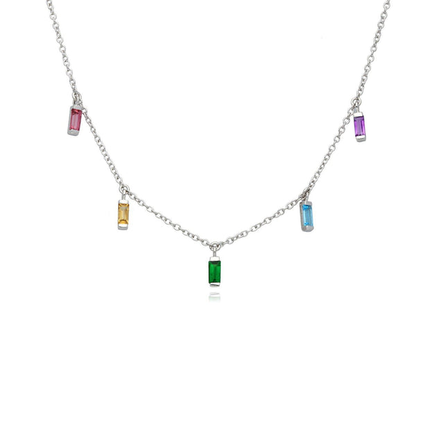 Rainbow Choker Necklace in 925 Sterling Silver