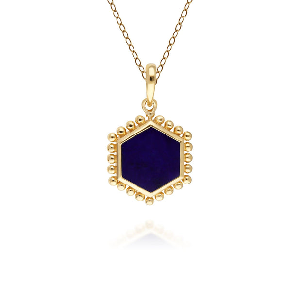 Lapis Lazuli Flat Slice Hex Pendant in Gold Plated Sterling Silver