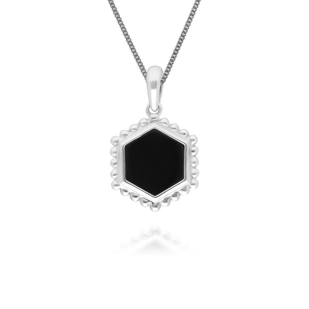 Black Onyx Slice Pendant Necklace in 925 Sterling Silver