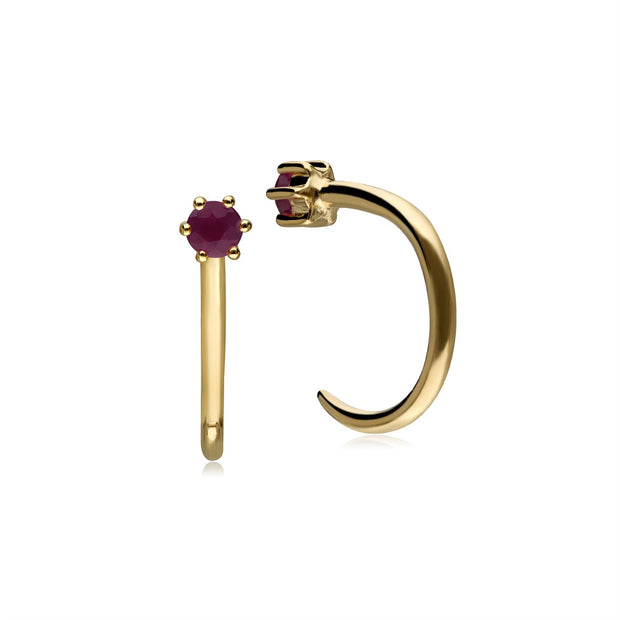 Ruby Pull Through Hoop Earrings