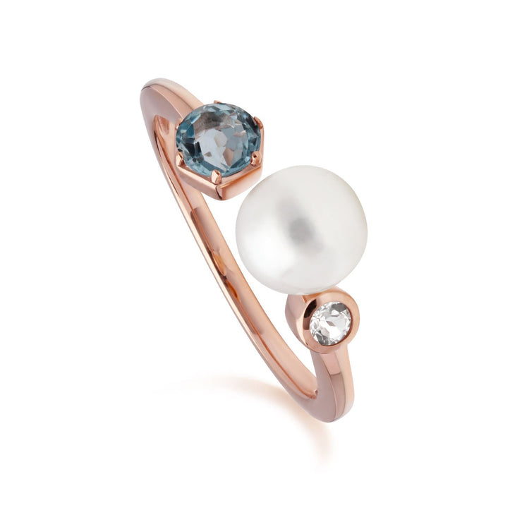 Modern Pearl & Topaz Open Ring in Rose Gold Plated Sterling Silver
