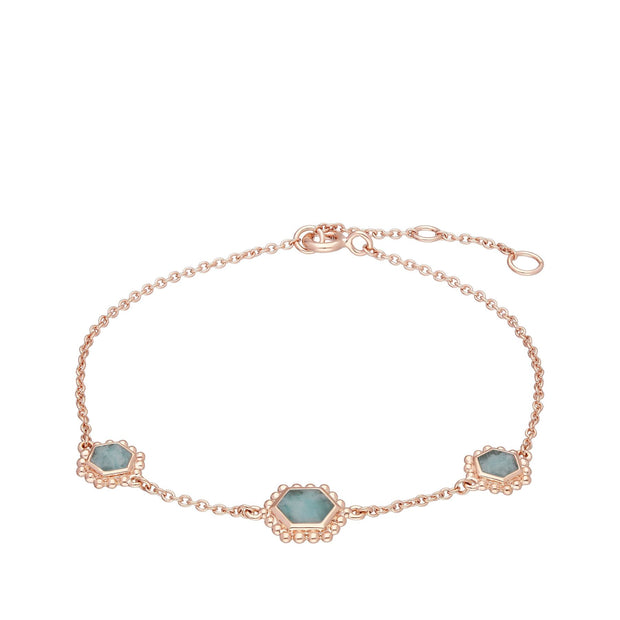Amazonite Flat Slice Hex Chain Bracelet in Rose Gold Plated Sterling Silver
