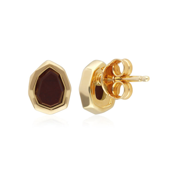 Irregular B Gem Red Jasper Stud Earrings in Gold Plated Sterling Silver
