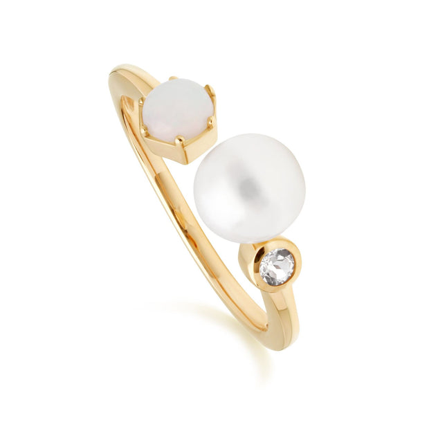 Modern Pearl, Opal & White Topaz Open Ring in Rose Gold Plated Sterling Silver