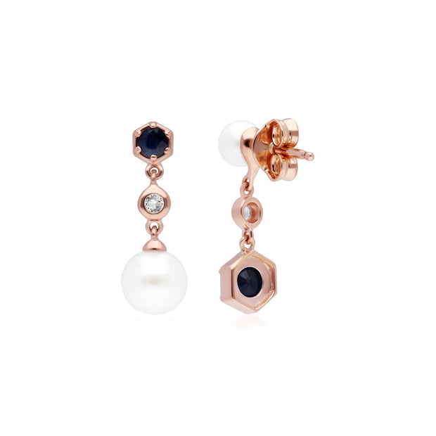Modern Pearl, Sapphire & Topaz Mismatched Drop Earrings in Rose Gold Plated Sterling Silver