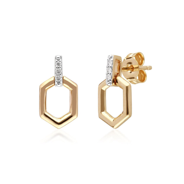Diamond Pave Hex Bar Drop Earrings in 9ct Yellow Gold