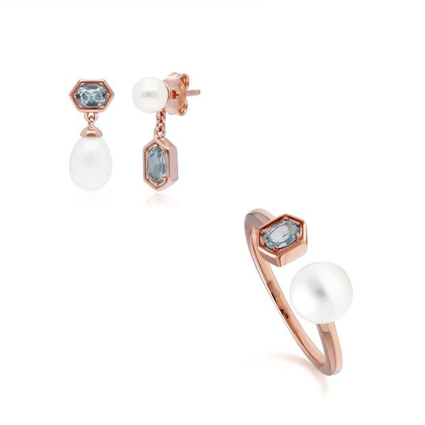 Modern Pearl & Blue Topaz Earring & Ring Set in Rose Gold Plated Sterling Silver
