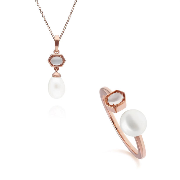 Modern Pearl & Moonstone Pendant & Ring Set in Rose Gold Plated Sterling Silver