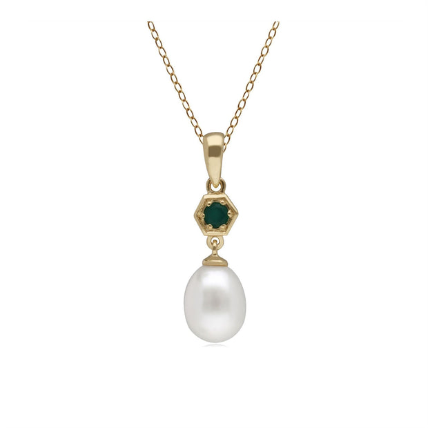 Modern Pearl & Dyed Green Chalcedony Drop Pendant in 9ct Yellow Gold
