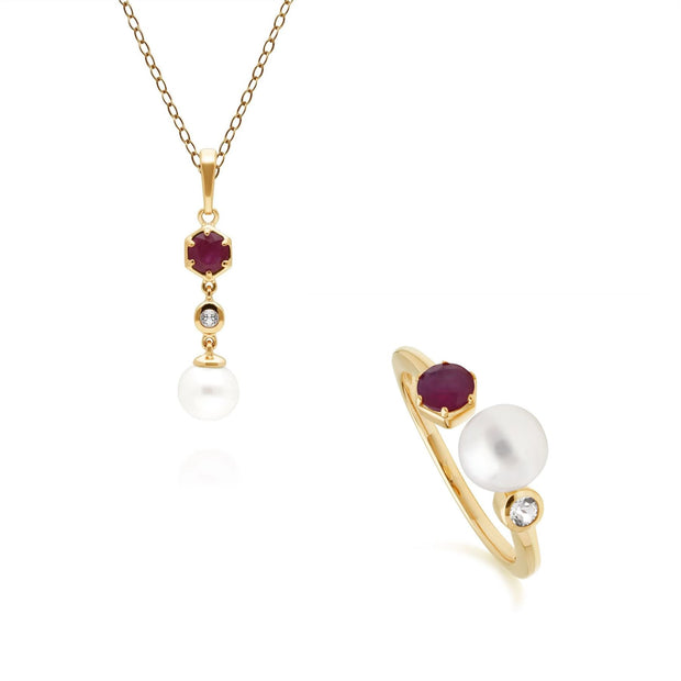 Modern Pearl, Topaz & Ruby Pendants & Ring Set in Gold Plated Sterling Silver