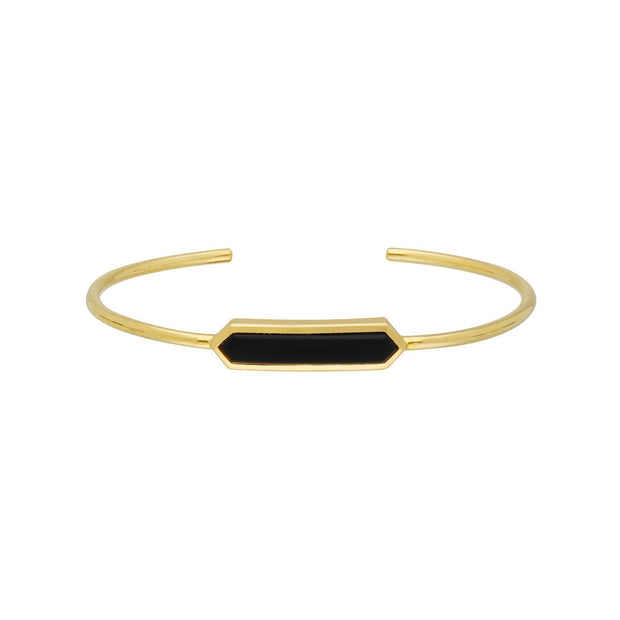 Geometric Prism Black Onyx Bangle in Gold Plated Sterling Silver