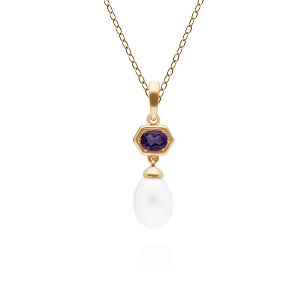 Modern Pearl & Amethyst Hexagon Drop Pendant in Gold Plated Sterling Silver