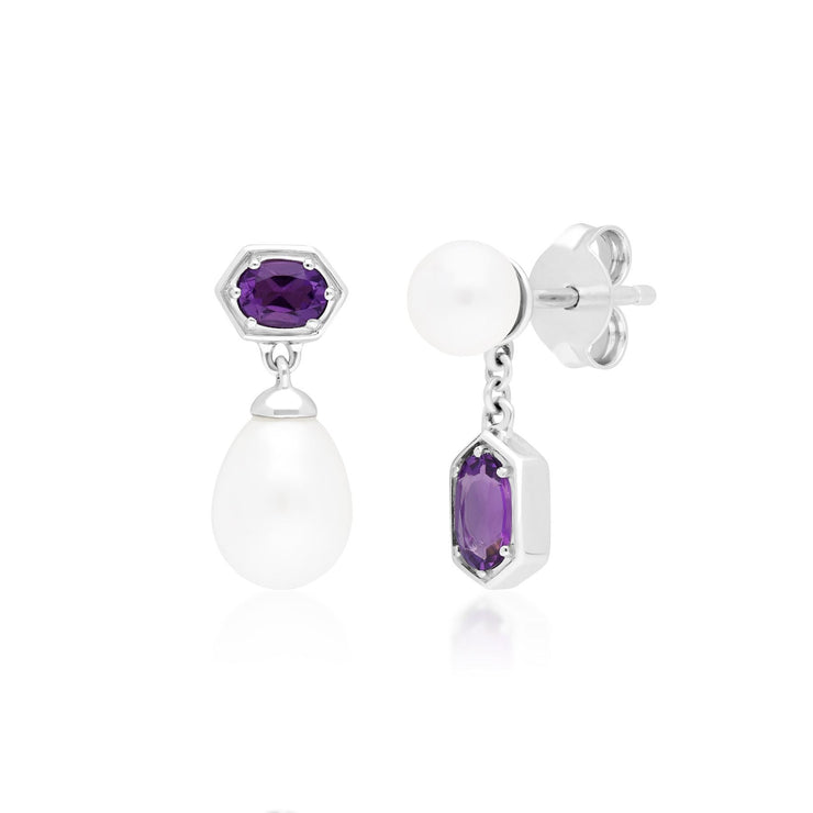 Modern Pearl & Amethyst Drop Earring & Pendant Set in Sterling Silver