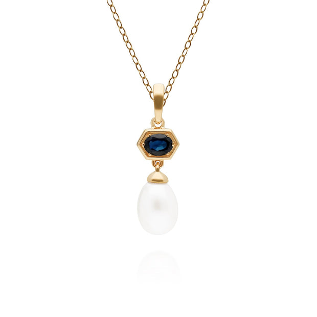 Modern Pearl & Sapphire Hexagon Drop Pendant in Gold Plated Sterling Silver
