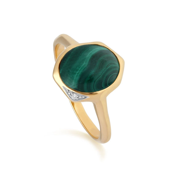 Irregular B Gem Malachite & Diamond Ring in Gold Plated Sterling Silver