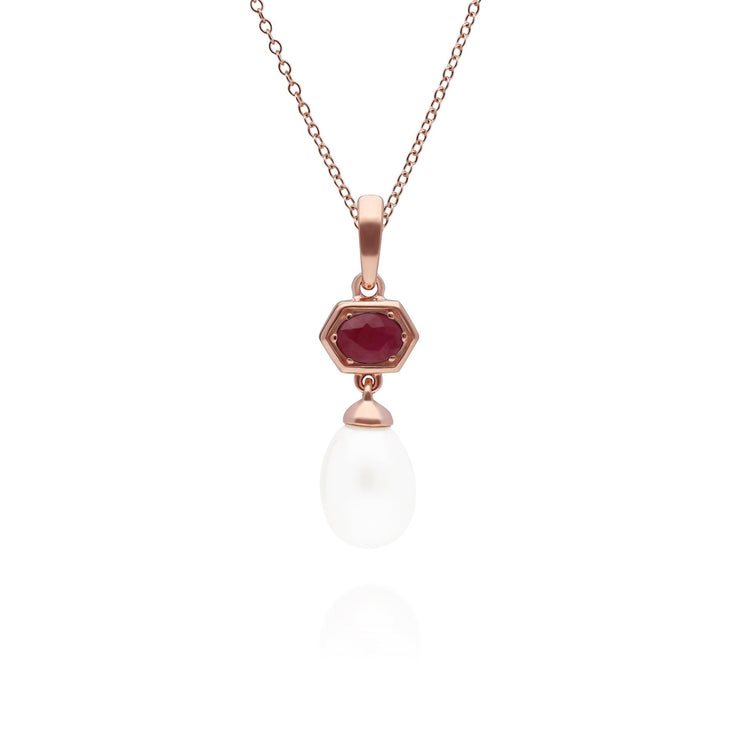 Modern Pearl & Ruby Hexagon Drop Pendant in Rose Gold Plated Sterling Silver