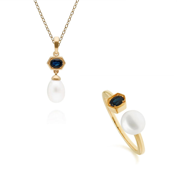 Modern Pearl & Sapphire Pendant & Ring Set in Gold Plated Sterling Silver