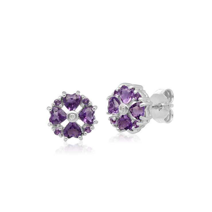 Classic Heart Amethyst & Diamond Stud Earrings in 9ct White Gold