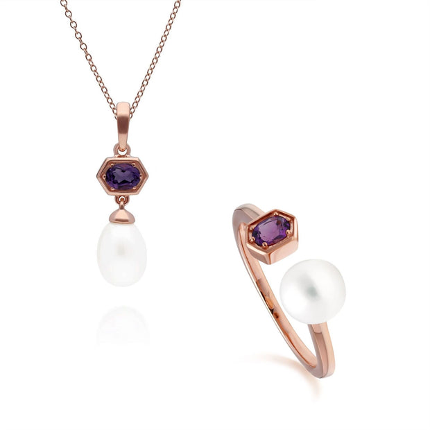 Modern Pearl & Amethyst Pendant & Ring Set in Rose Gold Plated Sterling Silver