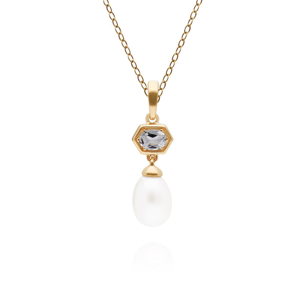 Modern Pearl & White Topaz Hexagon Drop Pendant in Gold Plated Sterling Silver