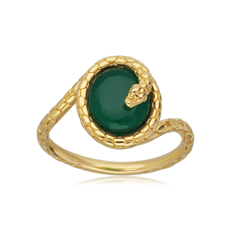 ECFEW™ Dyed Green Chalcedony Winding Snake Ring